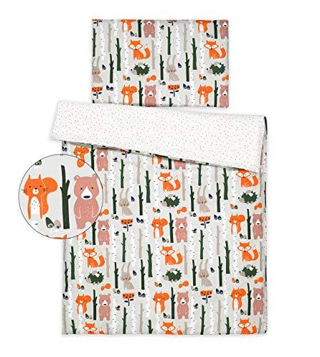 Kinderbettwäsche 120x90 2 Tlg. Bettwäsche zweiseitig 100% Baumwolle NEU Bettset (Waldtiere)