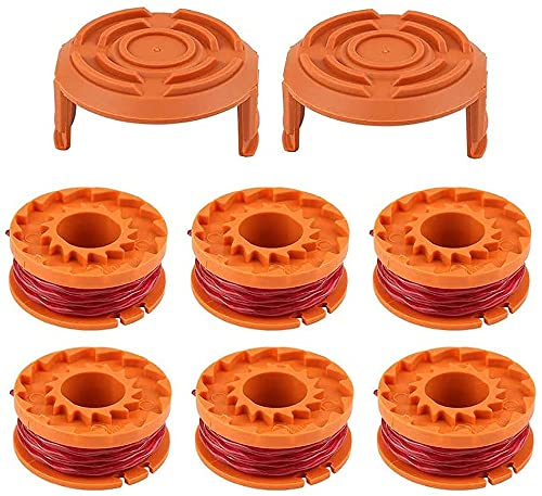 Ersatzfadenspule Fadenspule Austauschbare für WORX RasentrimmerWA0004.1- Ø 1,65mm, 3m Länge (6 Spulen + 2 Kappe)