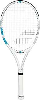 Babolat Drive G Lite White/Blue Tennis Racquet Strung with SG Spiraltek Synthetic Gut Racket String in Custom Colors (Best Racket for Doubles Play)