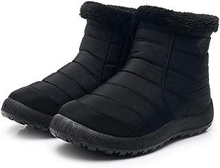 Women's Snow Short Boots,Ladies Nylon Slip On Flat Round Toe Solid Winter Waterproof Footwear Warm Ankle Boot Shoes