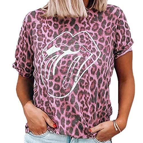 NOBRAND - Camiseta de manga corta con estampado de leopardo para mujer, cuello redondo