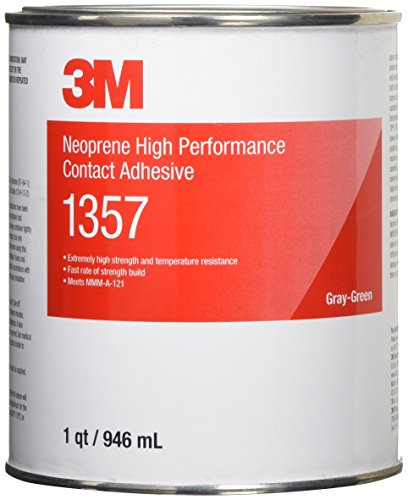 3M Neoprene High Performance Contact Adhesive 1357, Gray-Green, 1 Quart Can