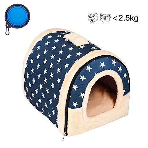 Enko 2 en 1 Cómodo Casa para Mascotas y Sofá, Interiores y Exteriores Portátil Plegable de Cama para Perro/Cama para Gato. Una Casa Caliente para su Mascota.(