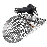 huyiko - Pala de Arena para la detección de Metales de Acero Inoxidable con Agujeros de hexaedro para la Caza del Tesoro de Playa + Mango de plástico