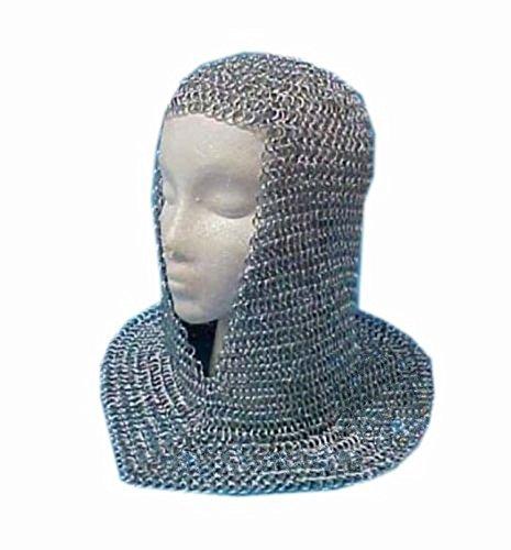 NASIR ALI Kettengeflecht Bundhaube Aluminium V-Ausschnitt Kettenhaube Mittelalter reenacment Armor Kostüm