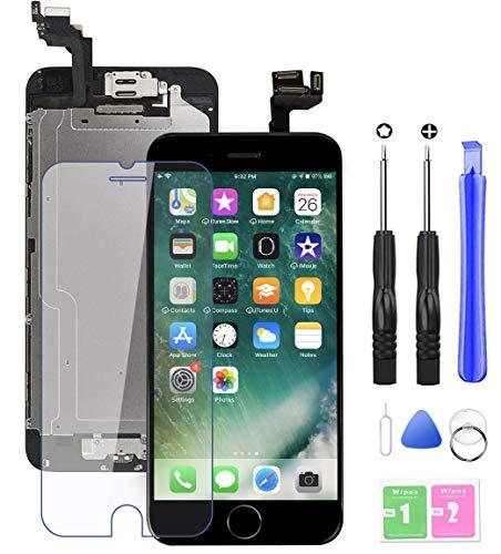 EXW Ecran LCD Vitre Tactile Complet sur Châssis pour ecran iPhone 6s Noir avec Outils Bouton Home Écouteur Interne Caméra De Face Tout Assemblé