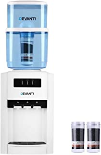 Devanti 22L Water Cooler Dispenser Filter Purifier Hot Cold Dual Tap Bench Top (3 Taps + 2 Replacement Filters)