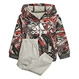 adidas i jog set b tutina per bambino e neonato, top:grey six/vivid red bottom:medium grey heather/white, 912m bimbo 0-24