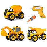 Build Me Set of 3 Take Apart Construction Truck Toys, Dump Truck, Cement Truck, Excavator with Sounds, Educational Build It Yourself Vehicles with Battery Powered Drill