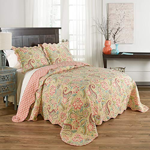 WAVERLY Wild Life 3pc Reversible Bedspread Set, King, Bloom