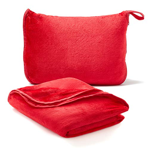 Americanflat Travel Blanket and Pillow Set - 2 in 1 Soft Plush Airplane Blanket with Hand Luggage Strap, Red