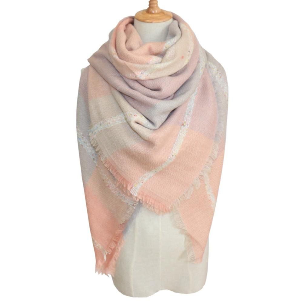 Vcenty Womens Winter Classic Wrap Shawl Scarves Autumn Warm Plaid Scarves Scarf