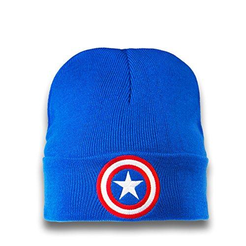 Logoshirt Bonnet en Laine Captain America - Le Bouclier - Bonnet Marvel Comics - Captain America - Shield - Super-héros - avec Logo brodé - Bleu - Des