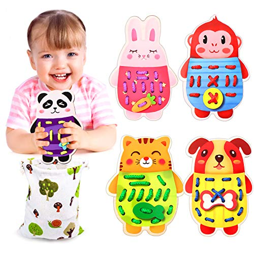 Jaolex Montessori Toys for Kids 3 4 5, Wooden Animals Lacing Threading Toy, Toddler Sewing Cards Lace-up Toys, for Learning Fine Motor Skills