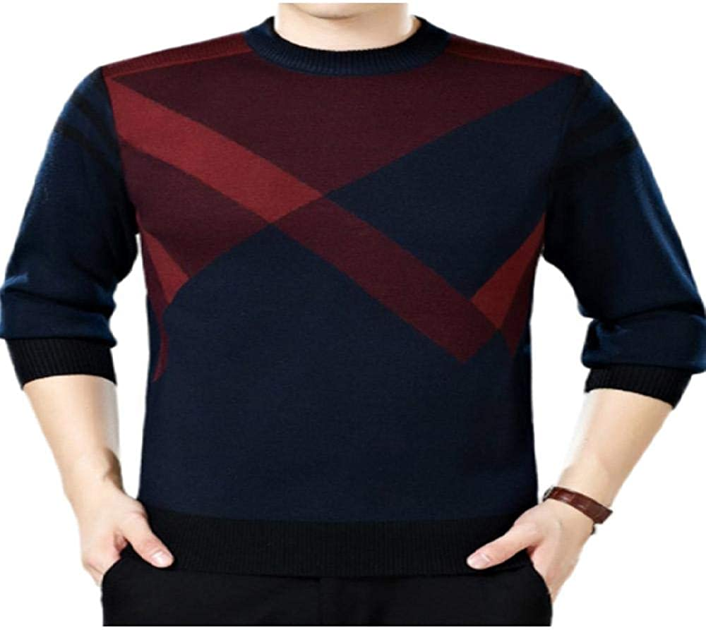 UHFIA Middle-Aged Men Sweater O-Neck Pullover Knit Jumper Men's Business Sweaters