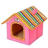 Cesta para Mascotas Hecha de Felpa 5 Colores Diferentes y 4 tamaños - Lavable y a Prueba de arañazos casa para los Perros y Gatos (Style 5, S (33x28x35cm))