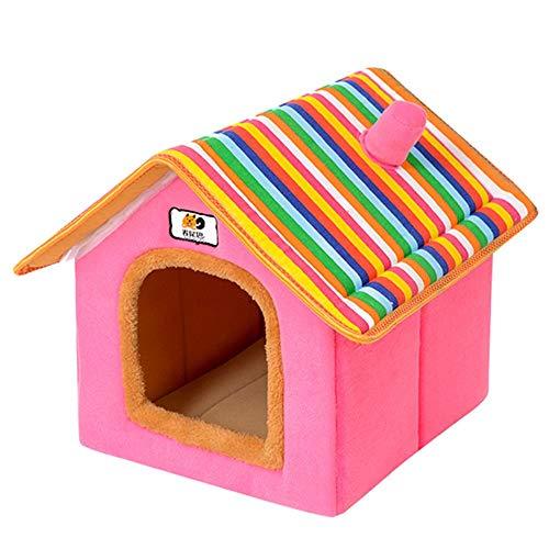 thematys Cestino in Peluche di Alta qualità in 5 Diversi Colori e 4 Misure - Lavabile e AntiGraffio casa per Cani e Gatti (Style 5, XL (50x42x50cm))