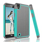 Njjex for LG X Power Case, [Nveins] Shock Absorbing Hybrid Dual Layer Rubber Plastic Impact Armor Defender Bumper Rugged Slim Hard Protective Case Cover for LG X Power Phone K210/ K6P [Mint/Grey]