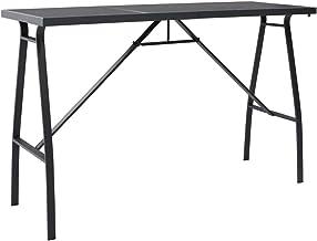 vidaXL Garden Bar Table Outdoor Patio Backyard Porch Terrace Balcony Furniture Wooden Bistro Stand Black 180x60x110cm Temp...