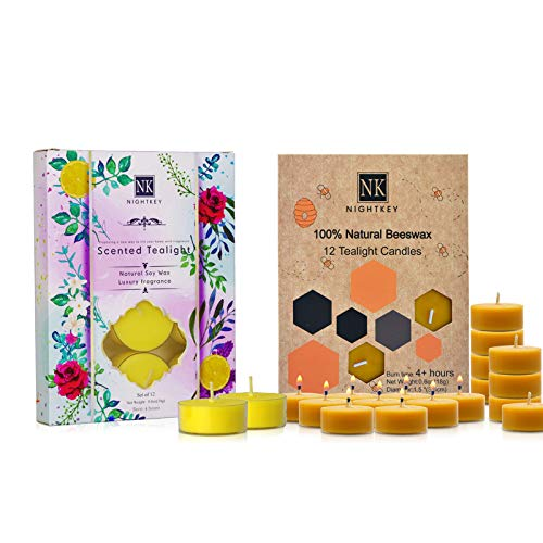 NIGHTKEY Natural Handmade Beeswax Tea Light and Scented soywax Tea Candle| Lemon