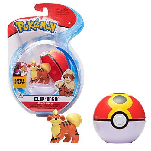 Bandai - Pokémon - Poké Ball & figurine Clip 'N' Go - 1 Bis Ball + 1 figurine 5 cm Caninos (Growlithe) - accessoire pour se déguiser en Dresseur Pokémon - WT00042