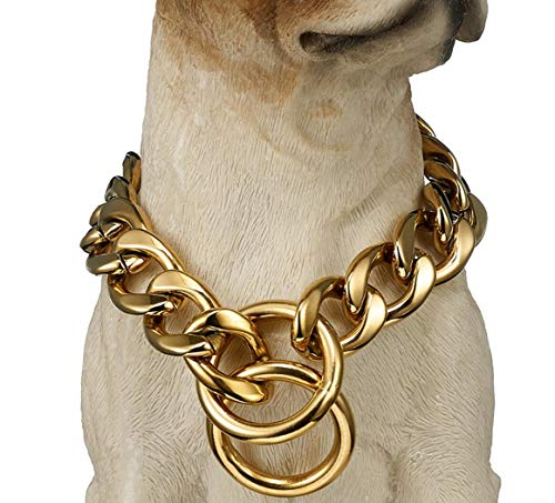 19Mm RVS Titanium Steel Hond Ketting Cubaanse Link Huisdieren Hond Hond Titanium Steel Hals Ring Hond Kraag Zilver