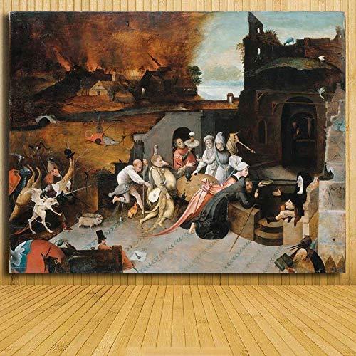 yiyiyaya zeitgenössisches Gemälde Delights Bosch Artwork Porträtgemälde Silk Poster Decor -12x16inch_45
