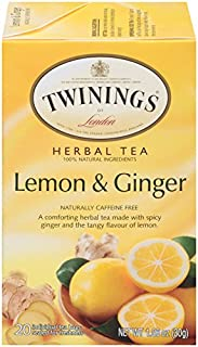 Twinings of London Lemon & Ginger Herbal Tea Bags, 20 Count (Pack of 6)