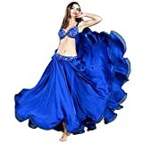 GXFXLP Professional Belly Dance Costumes Ladies Elegance Oriental Dance Set Bellydance Top Bra Long Skirt Suit Outfits for Women&Girls,Azul,L