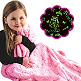 Princess Blanket Glow in The Dark Luminous Magical Blanket for Little Girls - Soft Plush Pink Fantasy Castle Blanket Throw for Kids - Large 60in x 50in Glowing Stars Blankets Gift for Girls