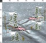 rosa, retro, Hirsch, Wald, Winter, Zelten, Wohnwagen Stoffe