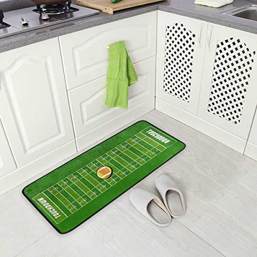 Mnsruu American Football Field Ball Sportbereich Teppich Fußmatte für Küche Zimmer 50 x 100 cm