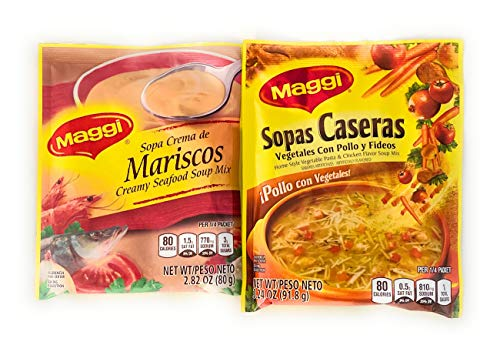 Maggi Creamy Seafood Soup and Maggi Vegetable and Pasta Soup Bundle - one package each