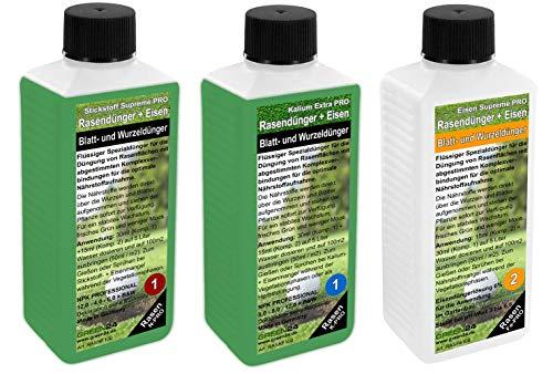 GREEN24 Rasen-Dünger Set XXL Volldünger NPK+ für das ganze Jahr mit Eisendünger flüssig für perfekten Rasen, ca. 1600m2 Traumrasen! (Rasen-Dünger Set XXL)