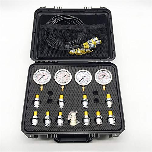 QWERTOUR Tragbare Hydraulik Manometer Bagger Hydraulikdruck Test Kit w/Testing Punkt-Kopplung Vakuum Kupplung und Messgerät Werkzeug