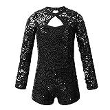 YiZYiF Kids Girls' Sequins Tap Jazz Dance Costume Floral Lace Sparkle Long Sleeve Biketard Dress up Sequined Black 7-8 Yr