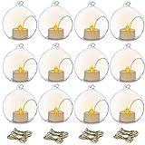 Nuptio 12 Pezzi 8cm Portacandele Vetro da Appendere Globo con LED Tealight, Terrari Piante Sfere di Vetro Piante d'Aria Portacandele Luce del tè Matrimonio Natale Halloween Casa Giardino Esterno