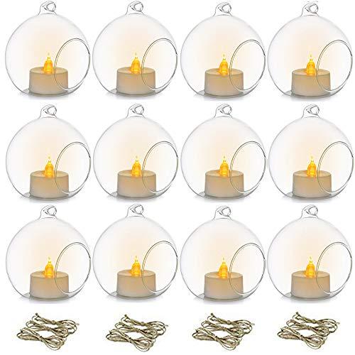 Nuptio 12 Stück 8cm Hängendes Glas Teelichthalter Globus mit Led Teelicht, Pflanzenterrarien Glaskugeln Luftpflanzen Teelicht Kerzenhalter Hochzeit Weihnachten Halloween Outdoor Garten DIY Geschenke