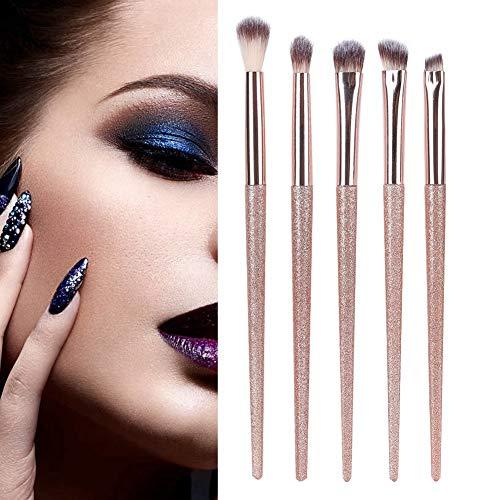wosume Pinceaux de maquillage pour les yeux, 5Pcs Pinceaux de maquillage pour les yeux Ensemble de fibres synthétiques Fard à paupières Sourcils Mignon Kit de maquillage