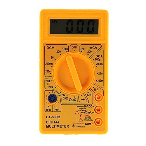 Oksea Digital Multimeter Auto Range Morpilot Strommessgerät Voltmeter Ohmmeter Amperemeter Temperatur Außenleiter Identifizierung True Durchgangsprüfung für professionelle Anwender (Gelb)