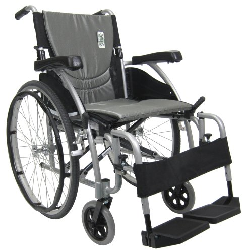 Karman Ergonomic Wheelchair in 16 inch Seat, Pearl Silver Frame and Silver Cushion