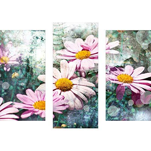 decorwelt | Dreiteiliges Wandbild 3 Teilig Acrylglasbilder Acryl Glasbild Blumen Pink 90x70 cm Wandbilder Wohnzimmer Esszimmer Deko Wanddeko