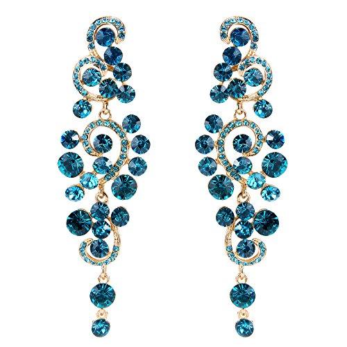 BriLove Wedding Bridal Statement Earrings for Women Bohemian Boho Crystal Floral Hollow Chandelier Dangle Earrings Blue Topaz Color Gold-Toned