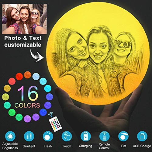 Luna Lampara Personalizada Foto,Lampara Luna,16 Colores Luz De Noche para niños, cumpleaños, acción de gracias, Navidad, regalos para el día de la madre