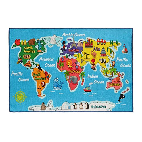 Relaxdays Alfombra Infantil con diseño de mapamundi, 150 x 100 cm, Pelo Corto, Revestimiento Antideslizante, Animales y océanos, Color Azul, 1 Unidad