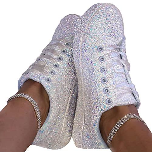 Minetom Sneakers Damen Pailletten Flache...
