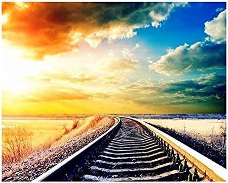 Import WEWINMON Painting YI Bright 5D T Scenic Credence Diamond Railway