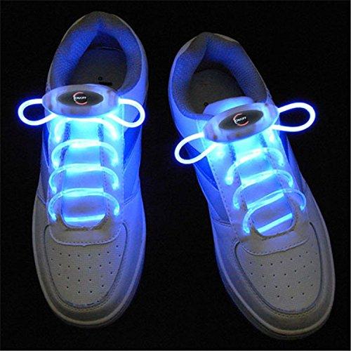 JiuRui LED Light & Lamp 1 Paar 80 cm Glow Schnürsenkel LED Sport Schnürsenkel Glow Stick Blinkt Neon Leuchtenden Schnürsenkel, Warmweiß Weiß Rot Grün Gelb Rosa Blau RGB (Color : Blue)