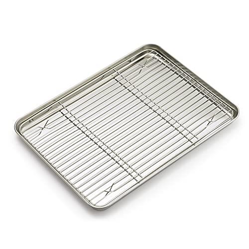 Supremery Bandeja de horno con rejilla de enfriamiento, de acero inoxidable, rectangular, bandeja de horno y rejilla de enfriamiento para hornear, 40 x 30 x 2,5 cm, apta para lavavajillas