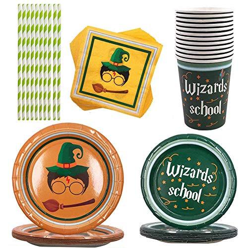 Harry Potter Set di Stoviglie,Harry Potter Decorazioni per Feste Forniture,per Feste di Compleanno Forniture,per Feste A Tema per Bambini Decorazioni,per Celebrazioni(81pcs)